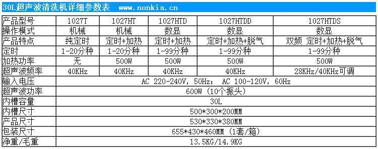 30L小型超声波清洗机参数