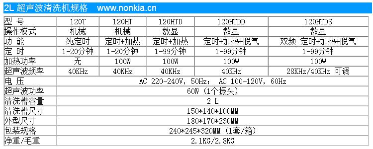 2L 小型超声波清洗机规格