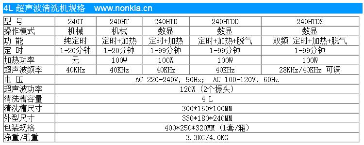 4L超声波清洗机规格