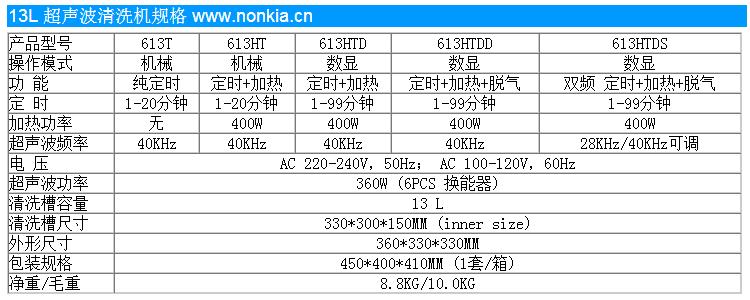 13L超声波清洗机规格