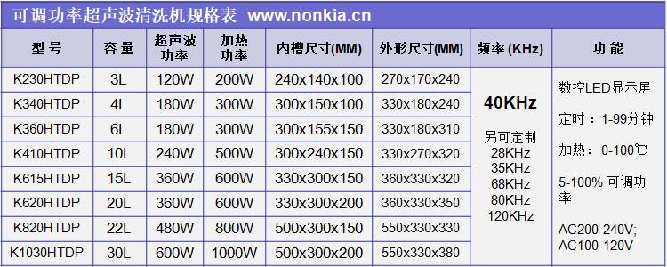 可调功率超声波清洗机规格表