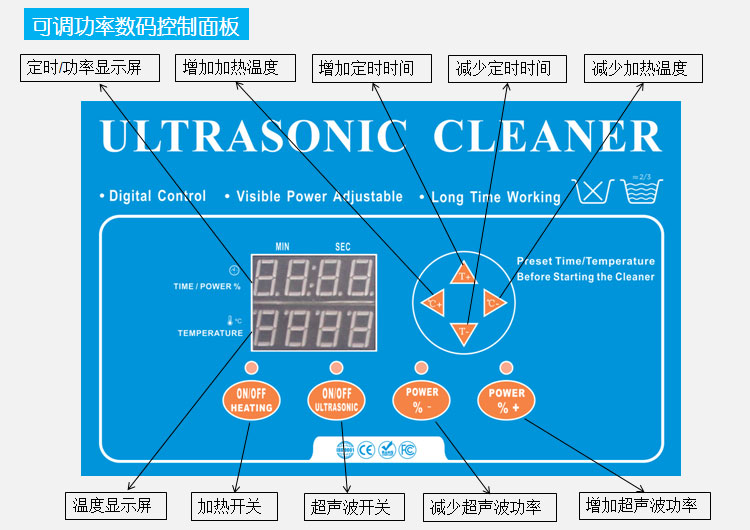 可调功率超声波清洗机数控面板